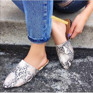 Shoes - Pointed Toe Slip On Mules Flats Pumps Slides Snake